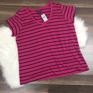 Torrid Very Berry/Black Striped Vneck Size 3 NWT